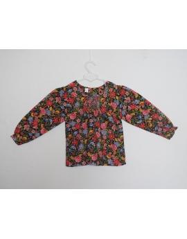 Blouse smocks en coton imprimée fleurie