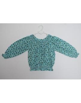 Tunique smocks turquoise en coton imprimé