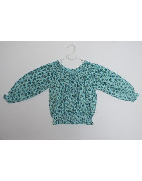 Tunique smock turquoise en coton imprimé