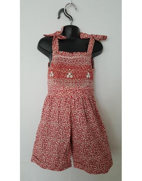 Combi short smocks rouge fleuri en coton