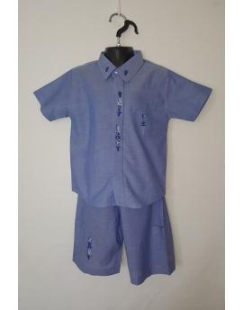 "Ensemble chemise bermuda bleu brodé ""Aloalo"""