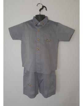 Ensemble chemise bermuda gris brodé baobab
