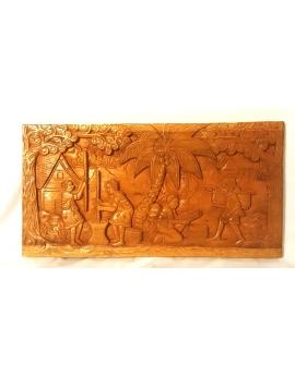 Tableau sculpté sur bois massif palissandre, Pileuses de riz