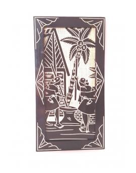 Tableau à suspendre, en bois de pin peint puis sculpté, Les pilleuses