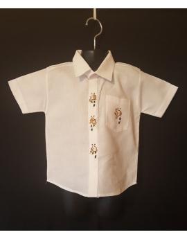 Chemise blanche classique brodée - manches courtes, lémuriens
