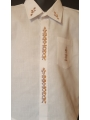 """Chemise blanche classique brodée - manches courtes, """"Aloalo"""""""