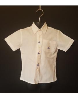Chemise blanche classique brodée - manches courtes, bateau