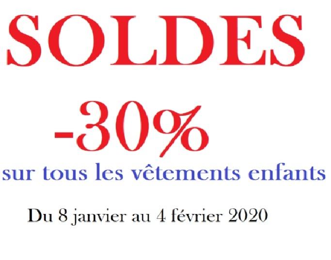 Soldes -30 % sur tous vêtements enfants